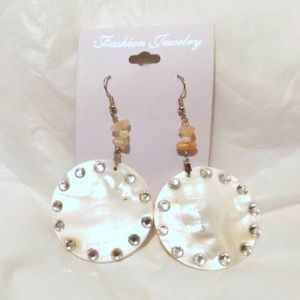 Natural Shell and Rhinestone Earrings